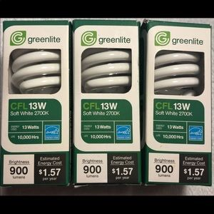 Lot of 3 New Greenlite Bulbs